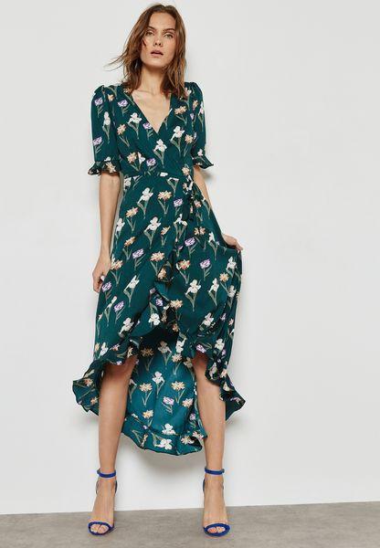 Floral Print Wrap Front Tie Ruffle Dress