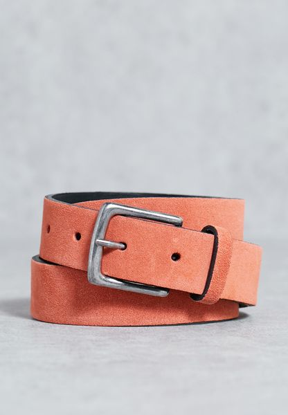 Suede Coral Slim Belt