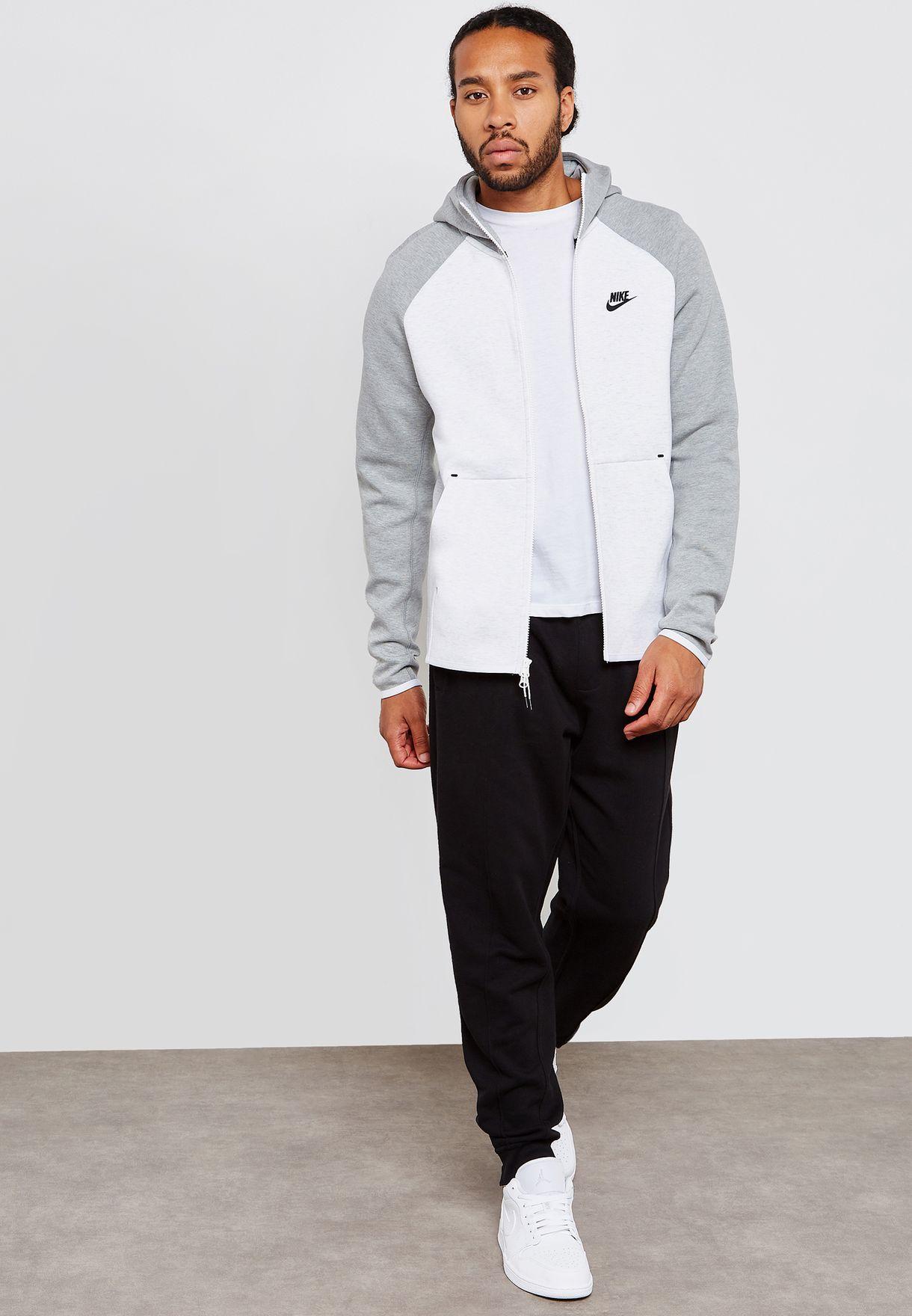 0e27863be5dd Shop Nike white Tech Fleece Hoodie 928483-052 for Men in UAE ...