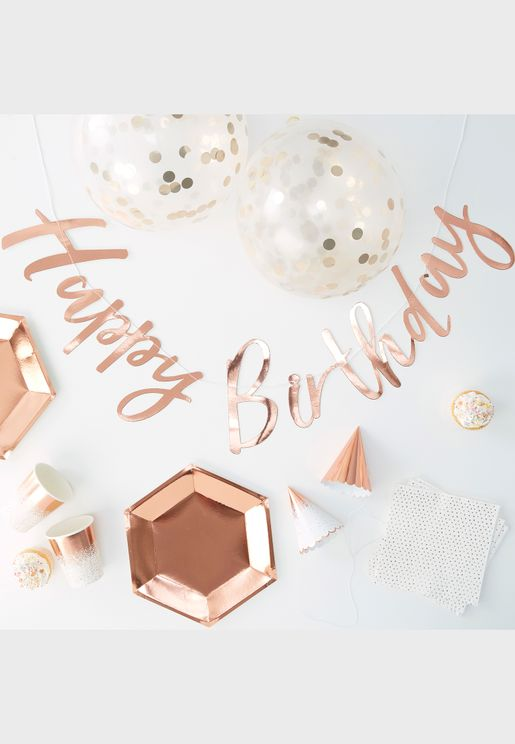 Birthday Party In A Box Rose Gold