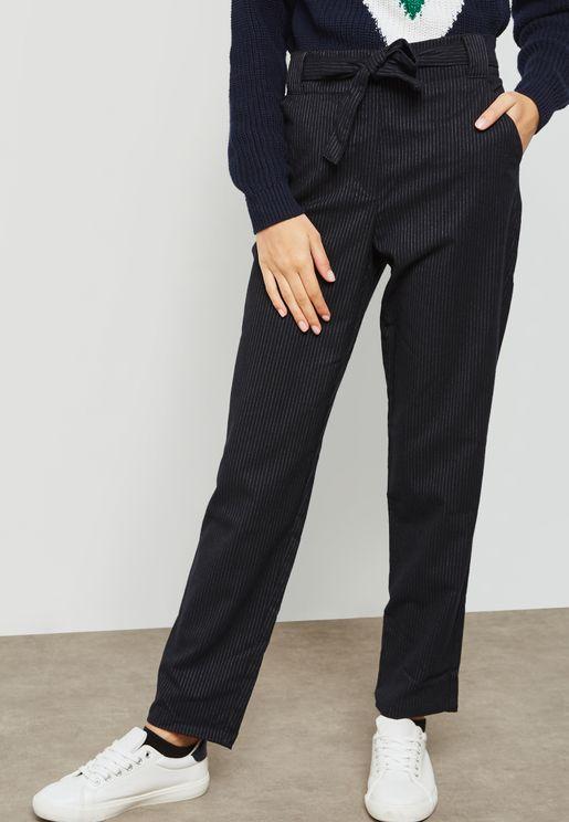 Pinstripe Tie Waist Pants