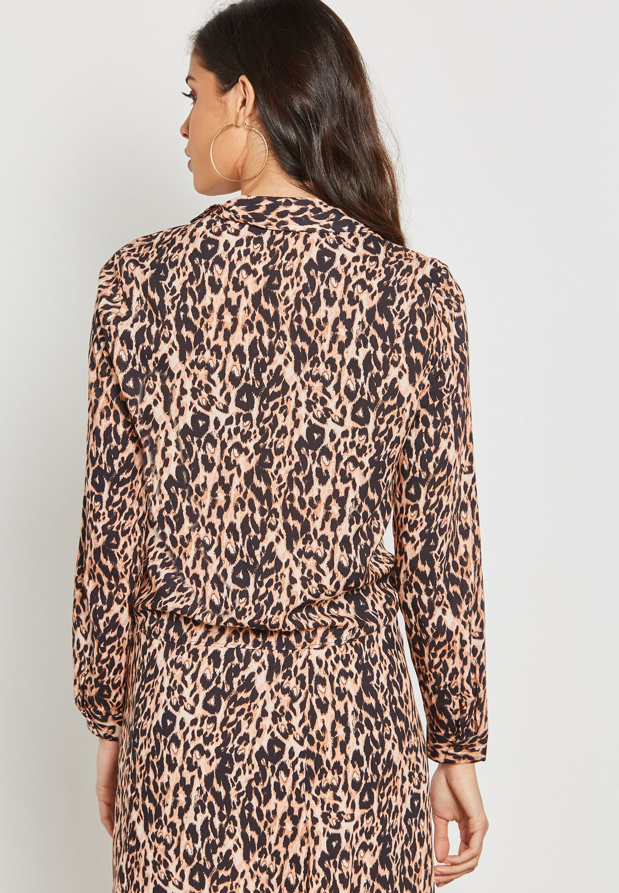 Front Tie Animal Print Shirt