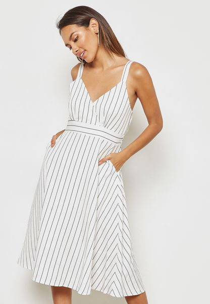 Striped Wrap Front Dress