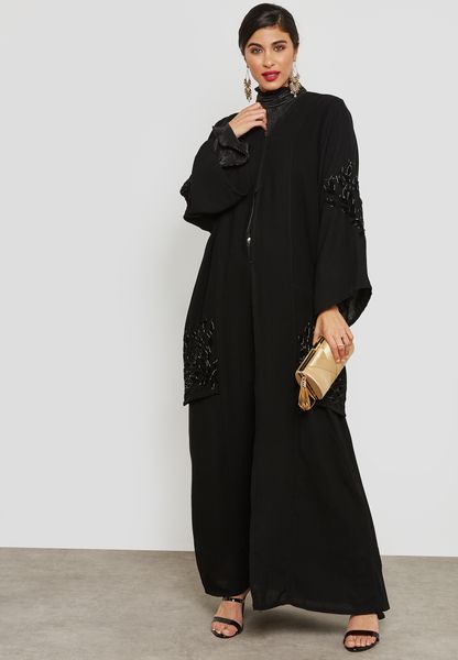 Jacket Look Handwork Detail Abaya