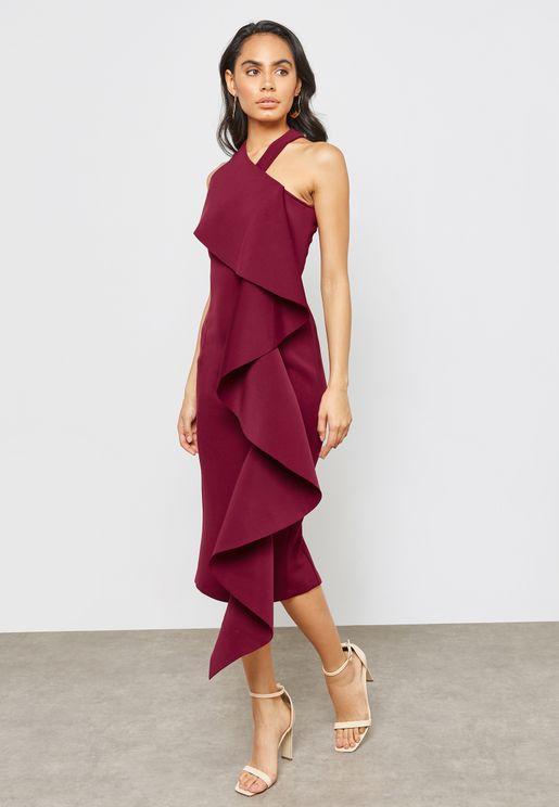 Scuba One Shoulder Halter Neck Frill Dress