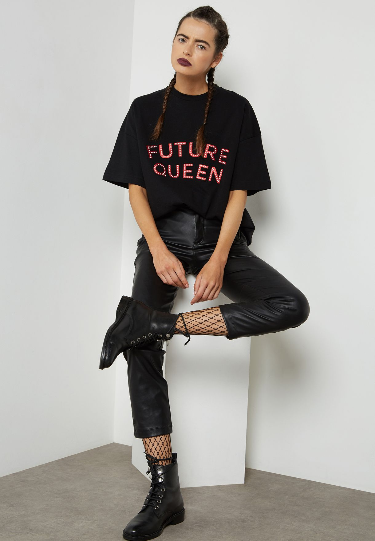 Oversized Embellished Slogan T-Shirt Dress
