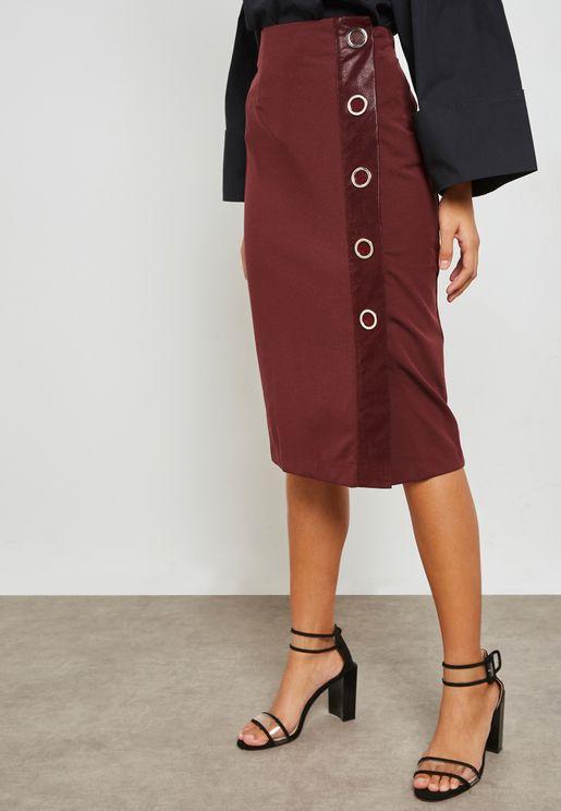 Eyelet Detail Pencil Midi Skirt with Split