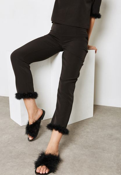 Fur Trim Pants