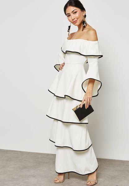 Contrast Piping Ruffle  Bardot Dress