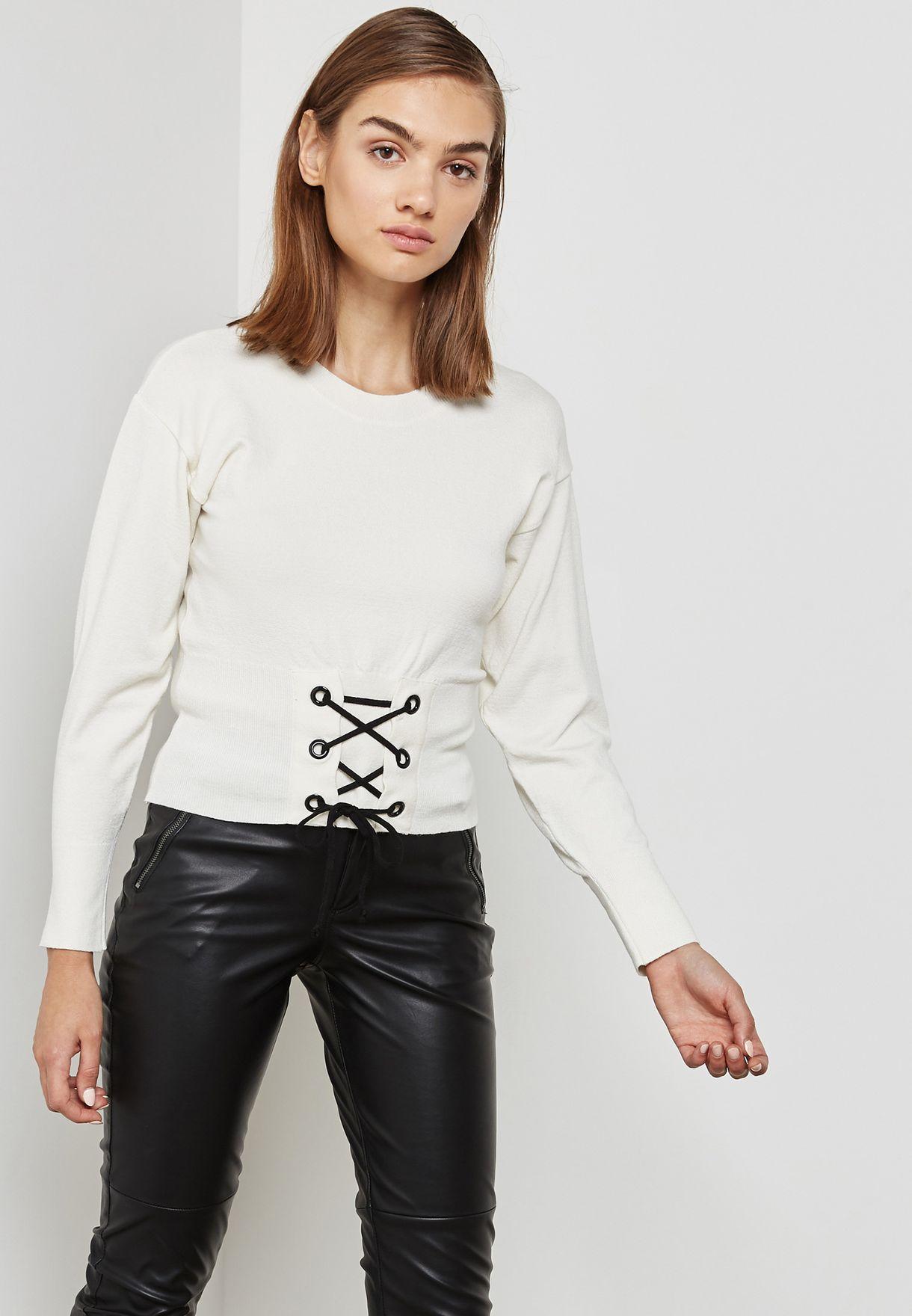c28253269bc Shop Topshop white Corset Detail Sweatshirt 23E06MCRM for Women in ...