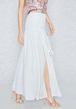 Pleated Plunge Skirt