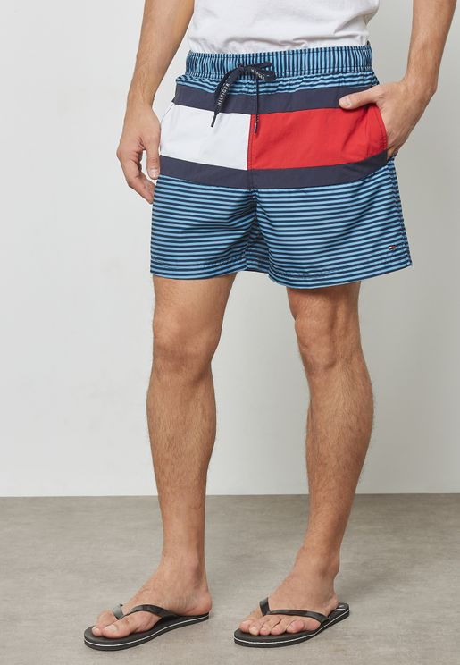Colorblock Drawstring  Swim Shorts