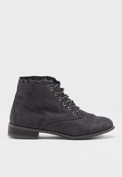 Black Magnolia Ankle Boots