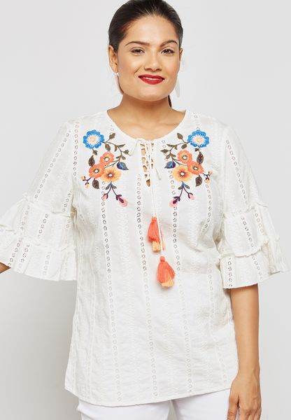 Flute Sleeve Embroidered Top