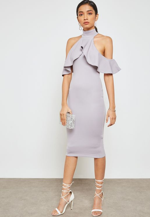 High Neck Frill Cold Shoulder Dress