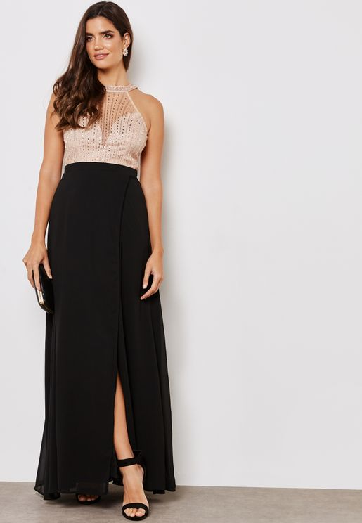 Embellished Halter Mesh Dress