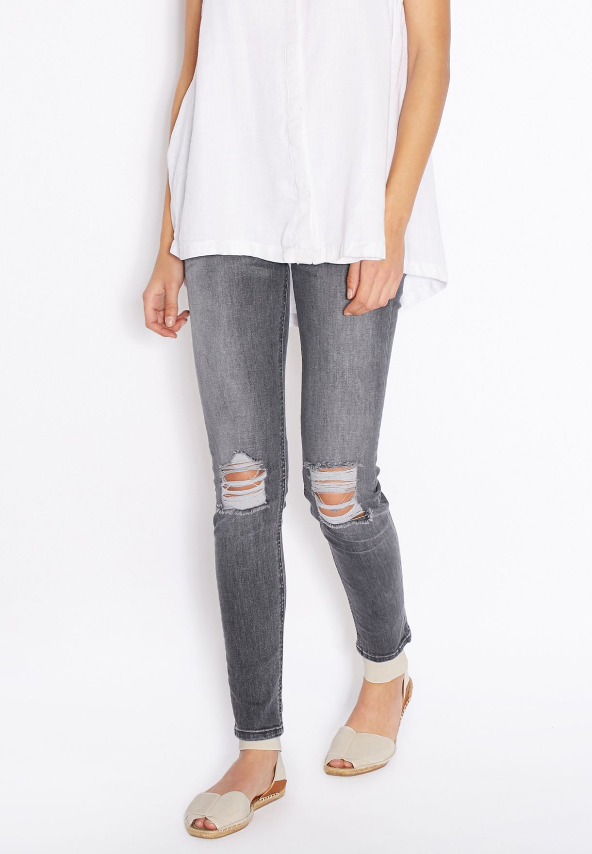 Shop Mango Grey Distressed Jeans 63057010 For Women In Uae