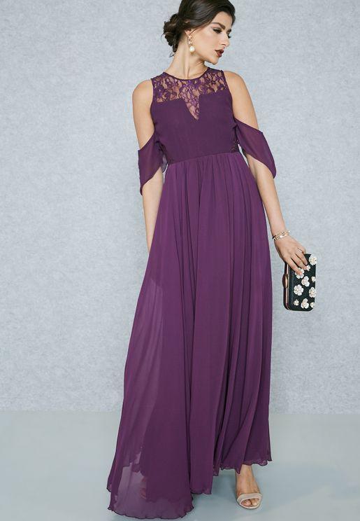 Lace Insert Detail Cold Shoulder Dress
