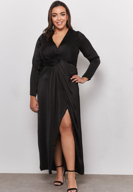 Satin Thigh Split Wrap Maxi Dress