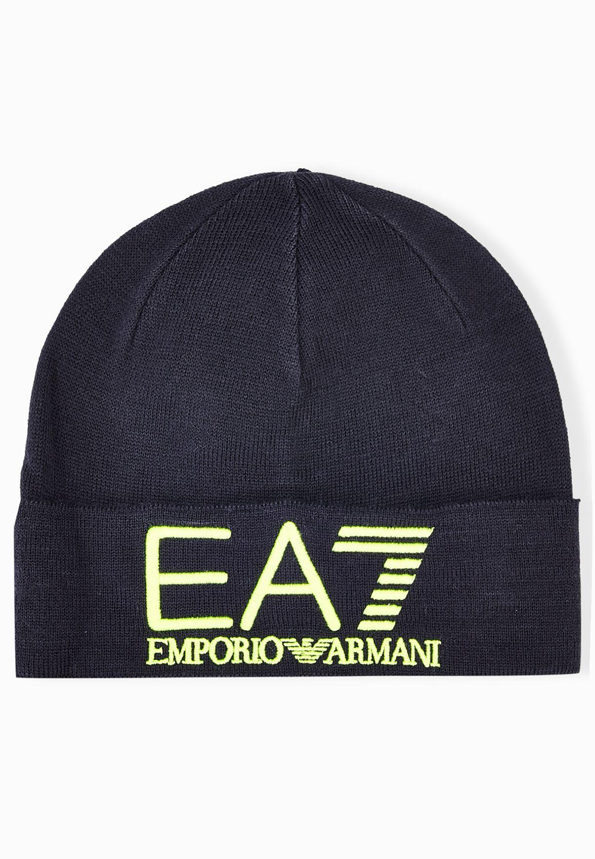 d92d68172a0 Shop Ea7 Emporio Armani blue Beanie Hat 5A392-275555-02836 for Men in Qatar  - EA531AT19DRC