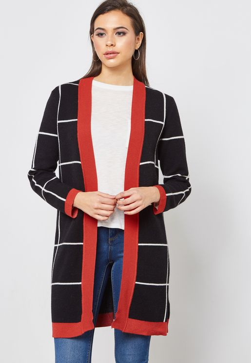 Checked Contrast Trim Longline Cardigan