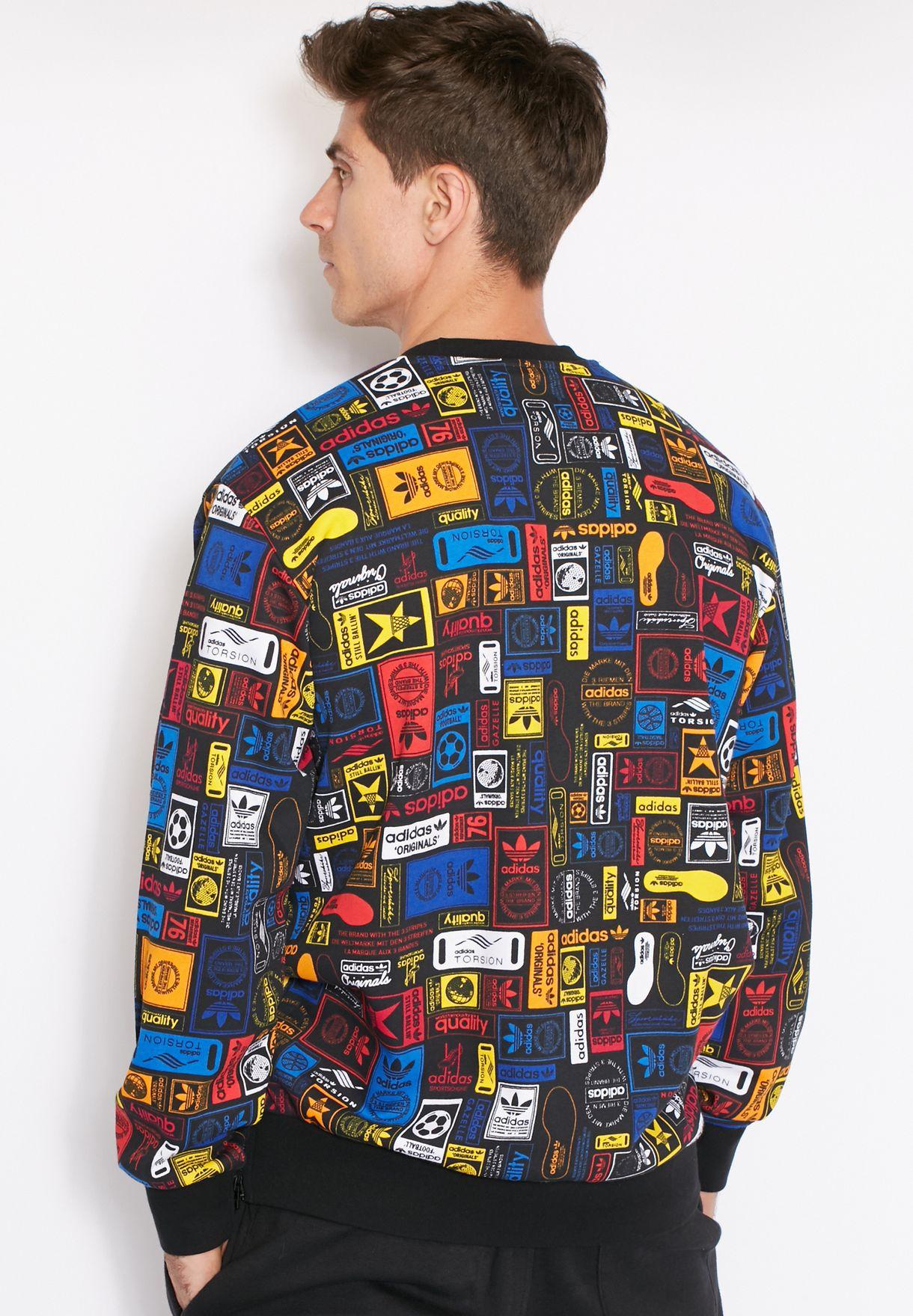 116d15f5 Shop adidas Originals prints Multicolor Sweatshirt AZ1095 for Men in ...