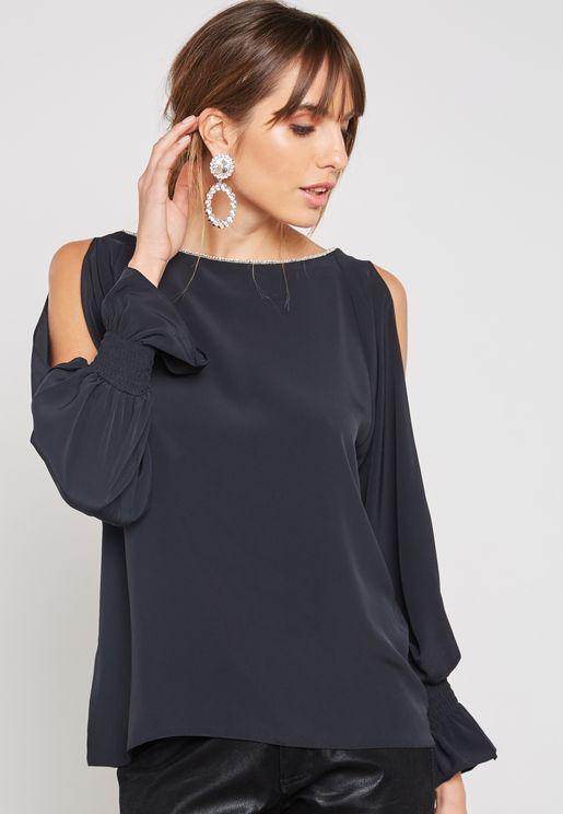 Embellished Cold Shoulder Top