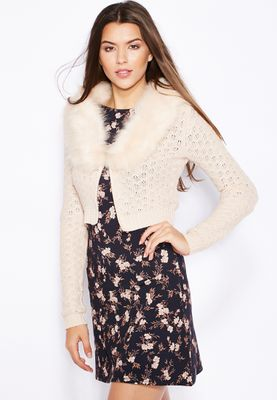 Miss Selfridge Faux Fur Collar Cardigan