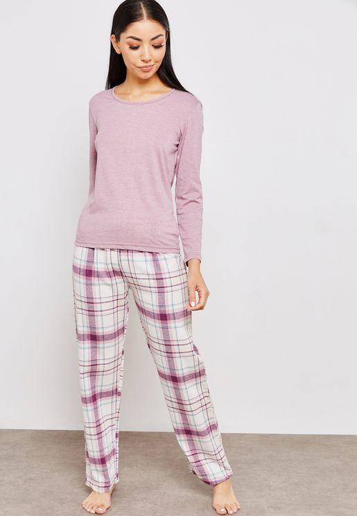 Crew-Neck Top Checked Pyjama Set