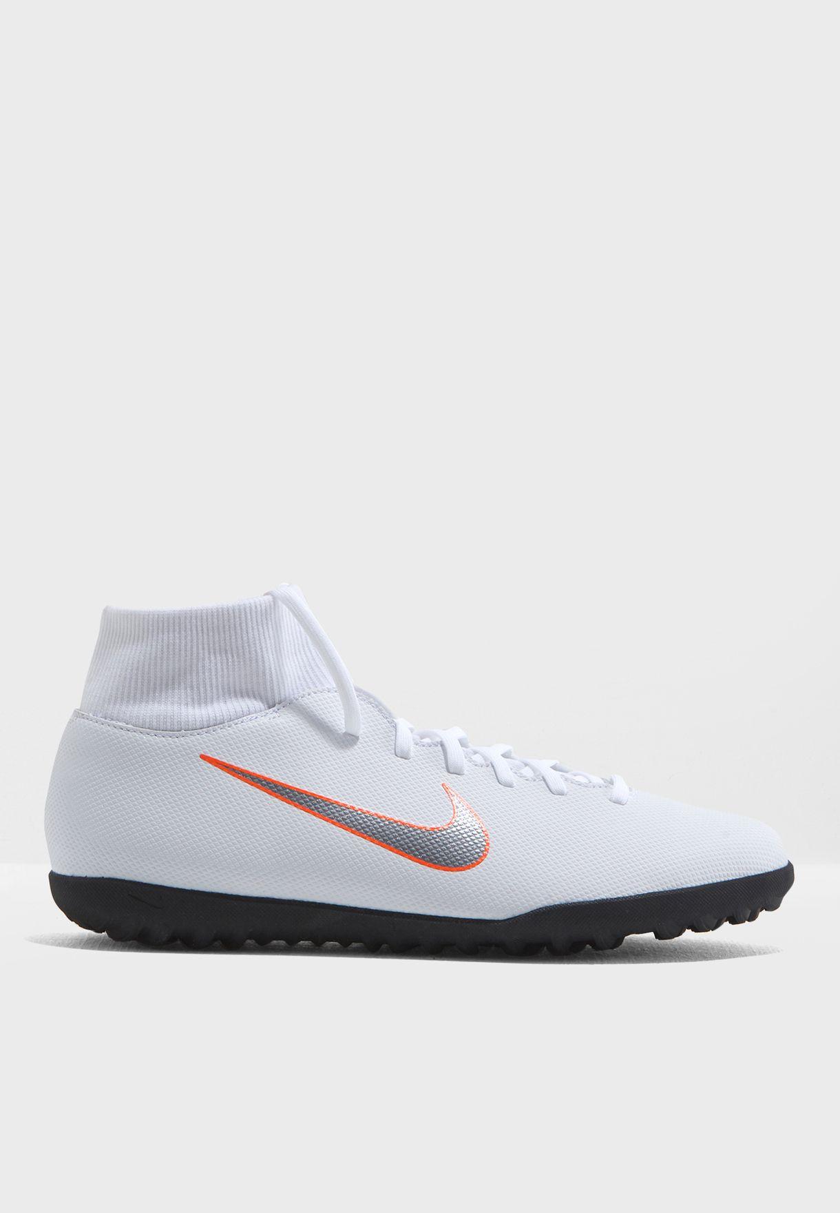 6f8fc50b236c Shop Nike white Mercurial SuperflyX 6 Club TF AH7372-107 for Men in ...