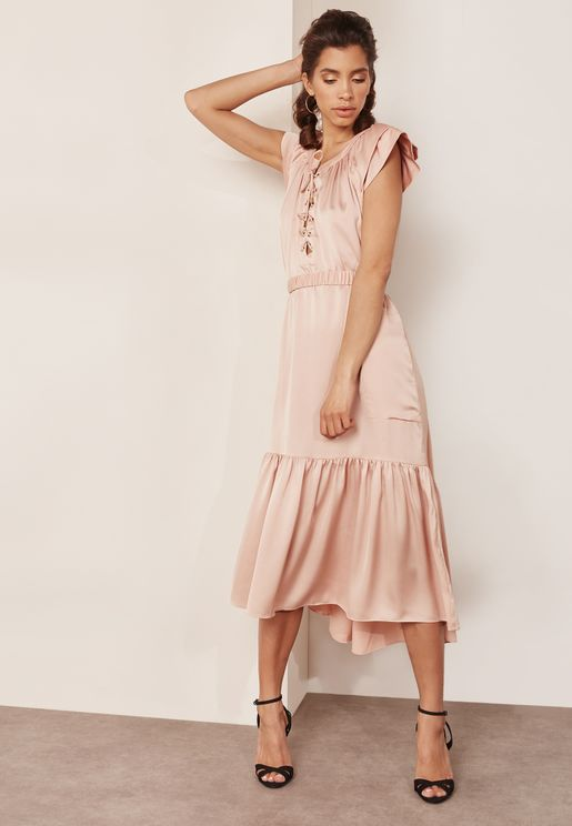 Lace Up Tiered Dress