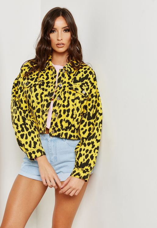Leopard Print Boxy Denim Jacket