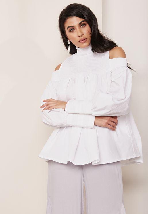 Cold Shoulder Sleeve Detail High Neck Blouse