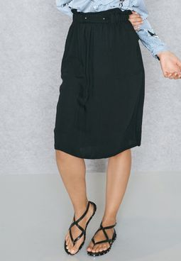 Button Detail Belted Skirt