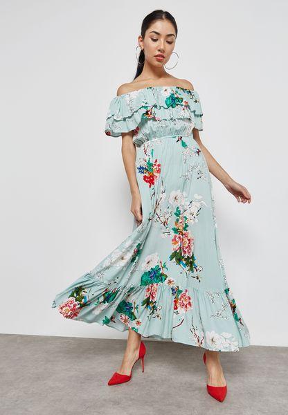 Floral Print Ruffle Trim Bardot Maxi Dress