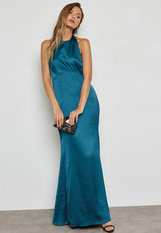 Low Back Satin Maxi Dress