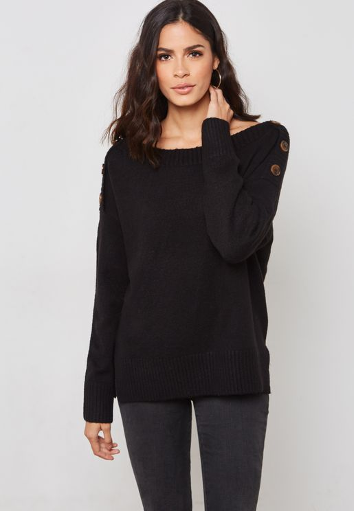 Button Detail Oversized Sweater