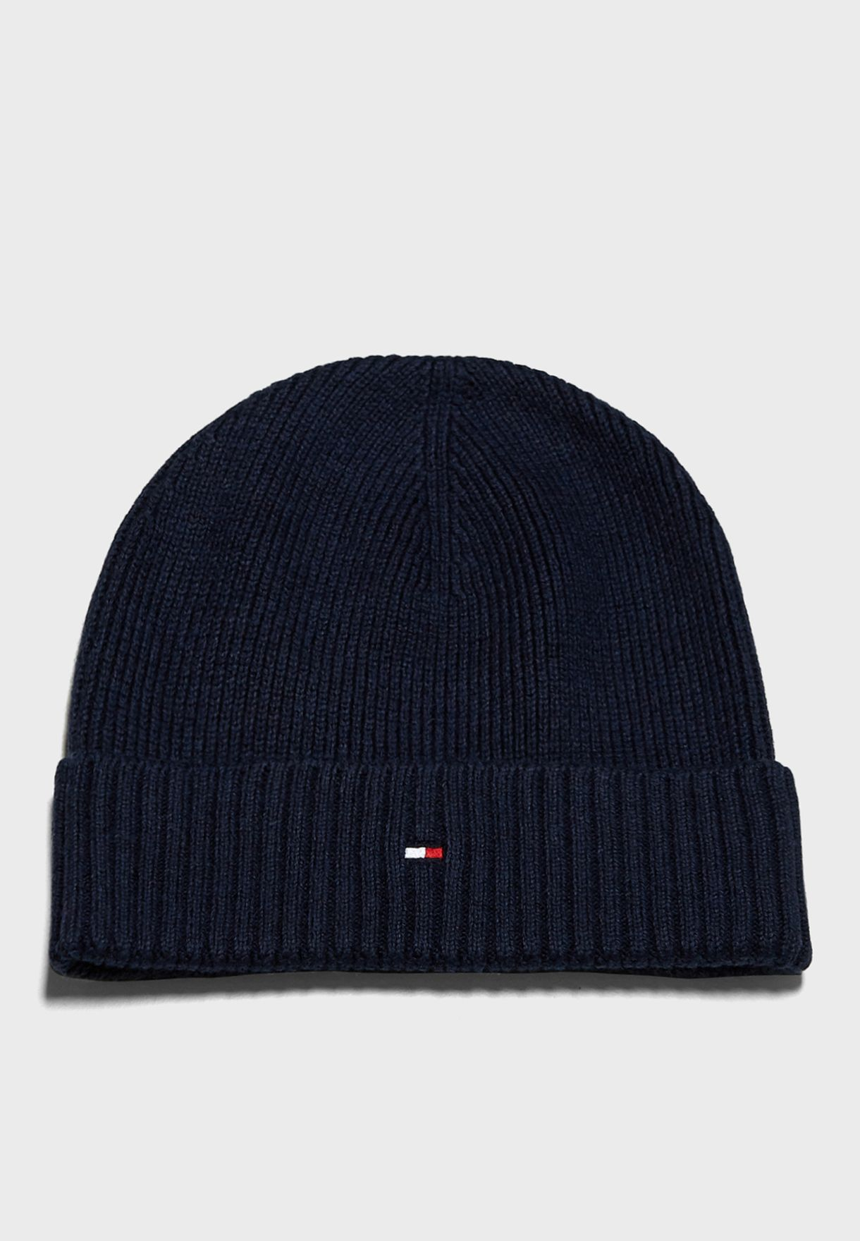 f817c59ddde Shop Tommy Hilfiger navy Pima Cashmere Beanie AM0AM03983 for Men in ...