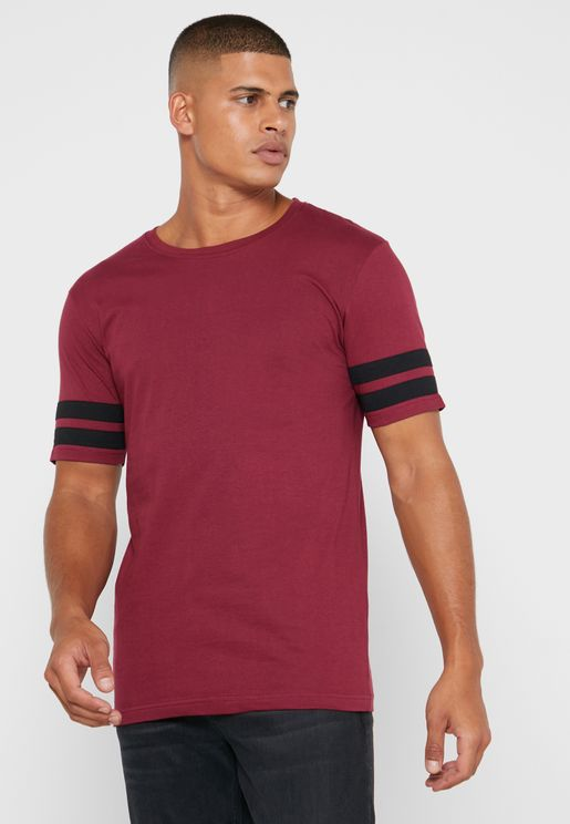 Arm Striped Crew Neck T-Shirt