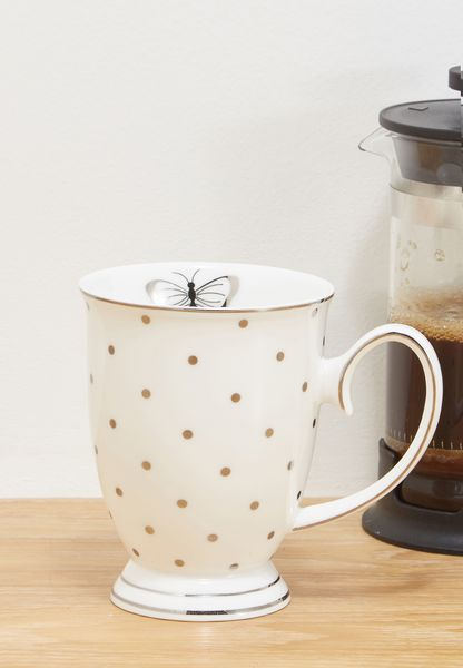 Miss Darcy Butterfly Mug White With Silver Spots