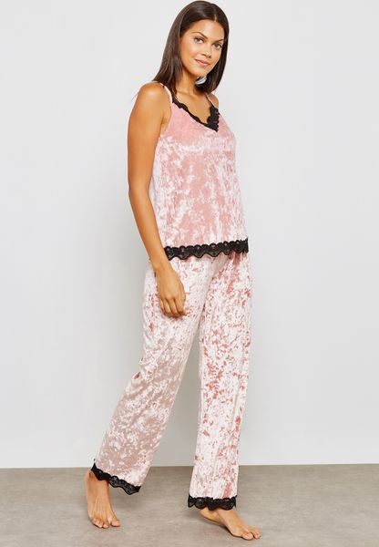 Lace Trim Velvet Shorts