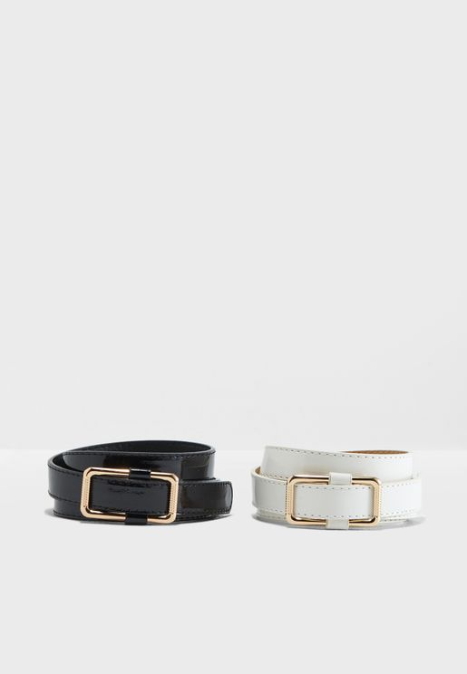 Pack Of 2 Buckle Waist Belts