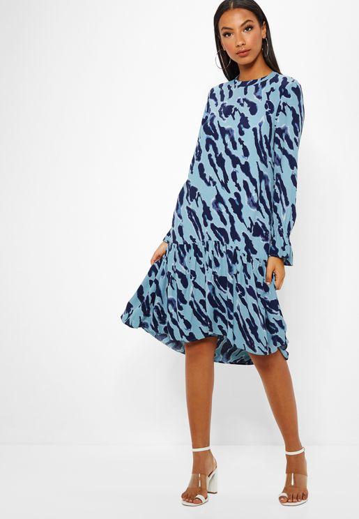 Printed Pleated Hem Dress
