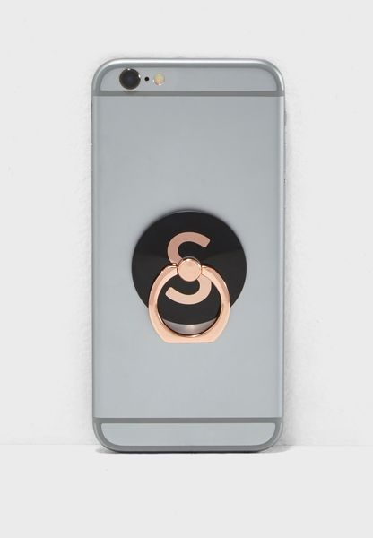 S Letter Rose Gold Phone Ring