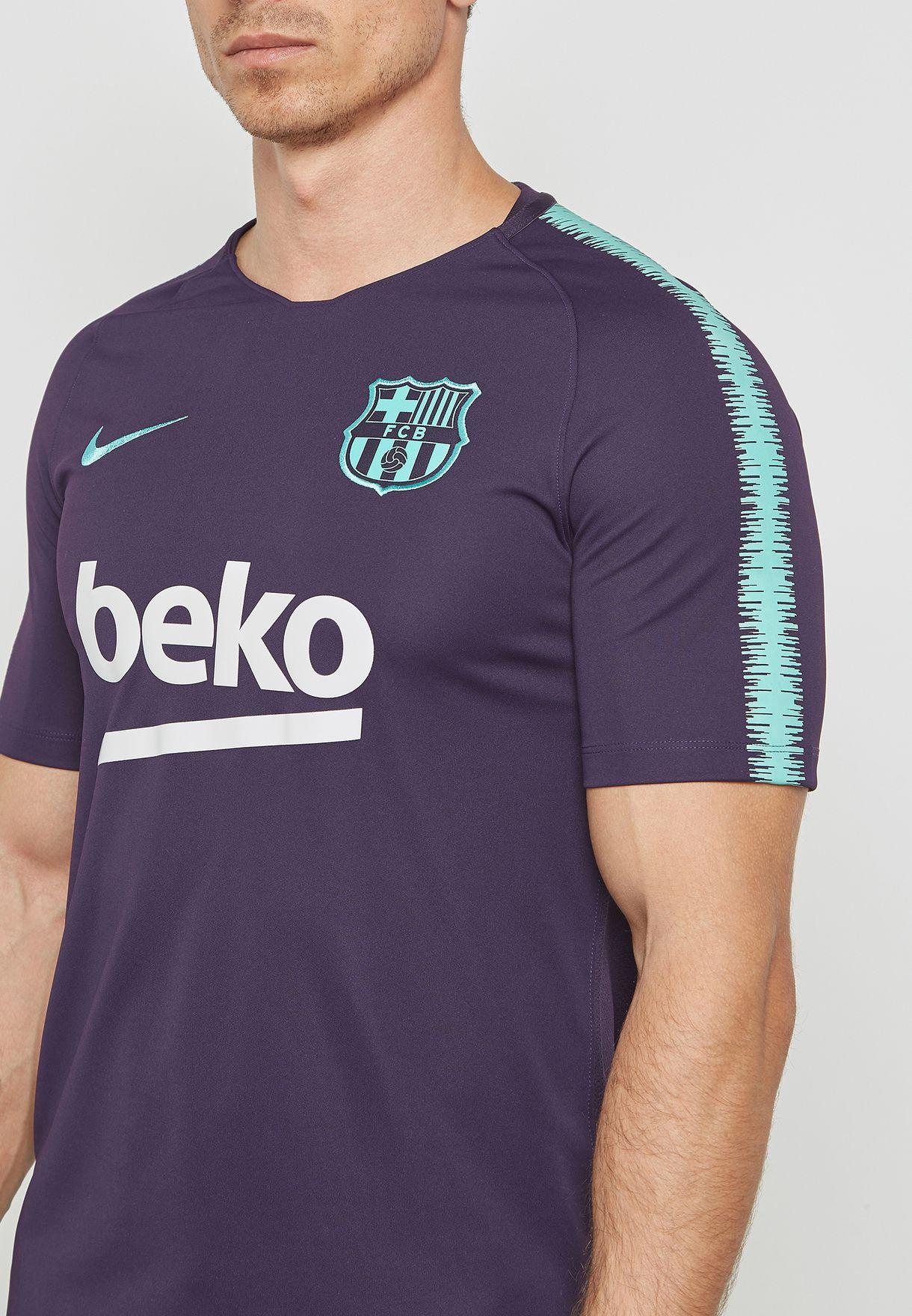 45665544bdc Shop Nike purple FC Barcelona Breathe Squad T-Shirt 894294-525 for ...