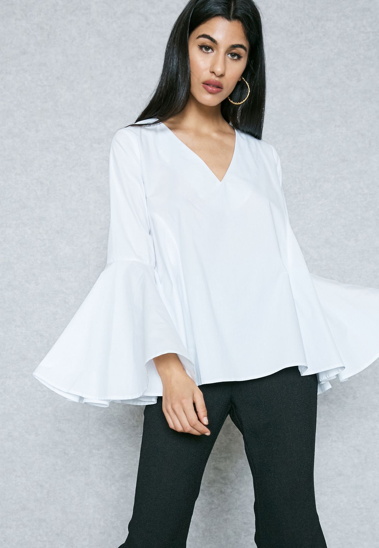 900ed8396a3b03 Shop Jovonna London white Flared Sleeve Pleated Top CATCH ME for ...