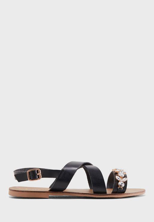 Wide Fit Gem Embellished Flat Sandal