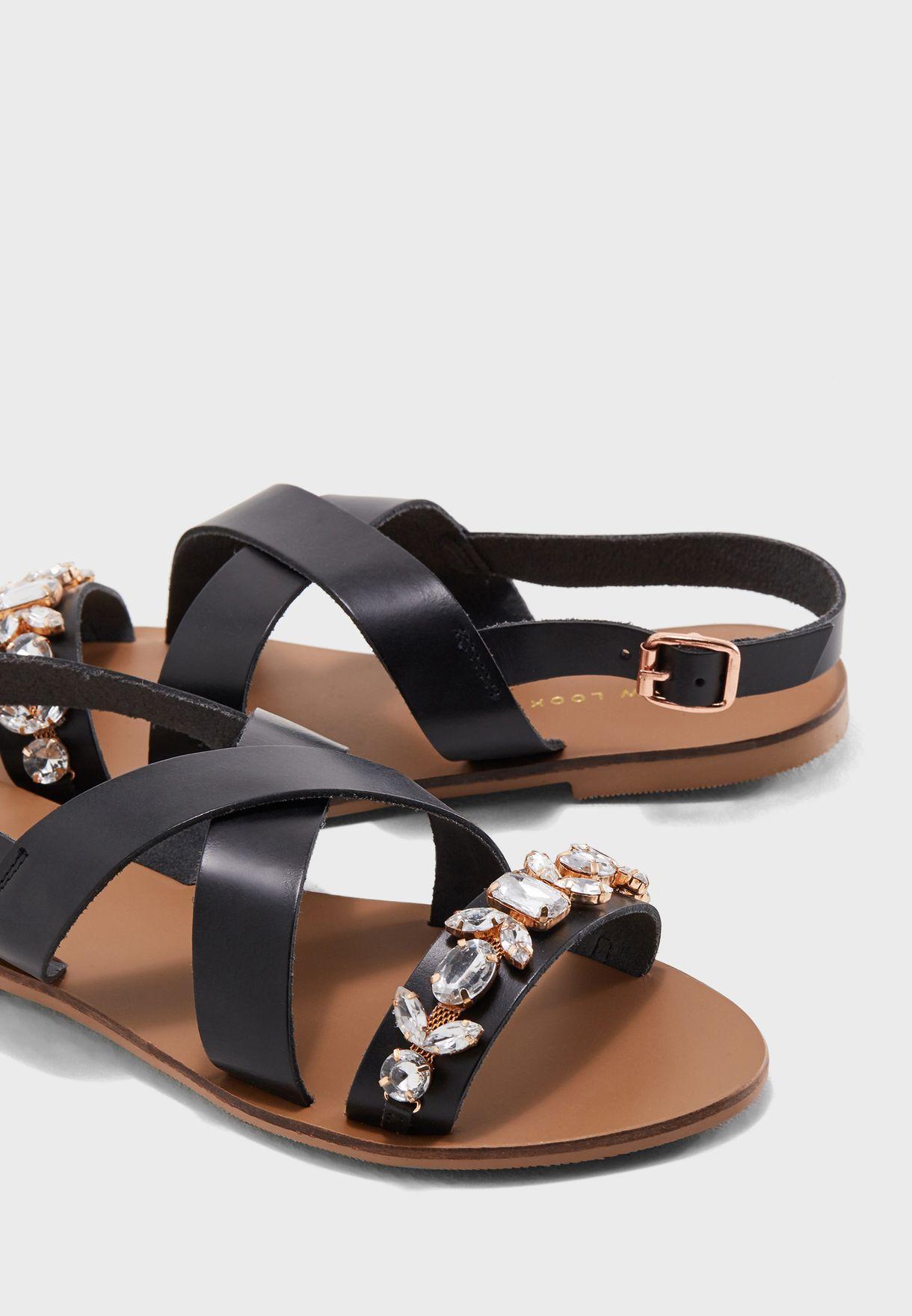 c331a77ef87 Shop New Look black Wide Fit Gem Embellished Flat Sandal 580763001 ...