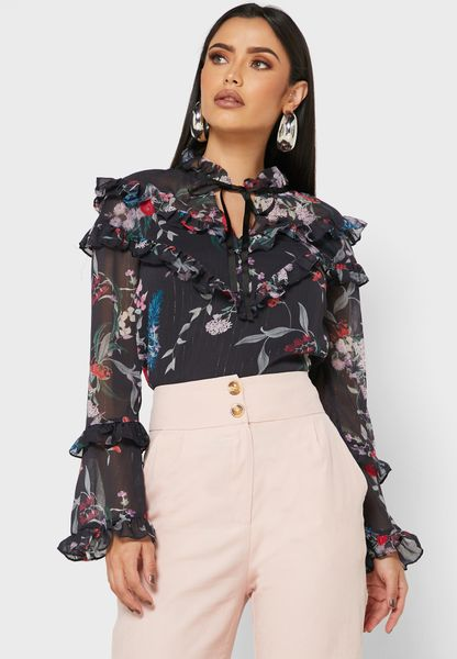 Printed High Neck Sleeve Detail Blouse