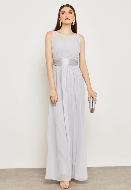 Metallic Contrast Belted Dress